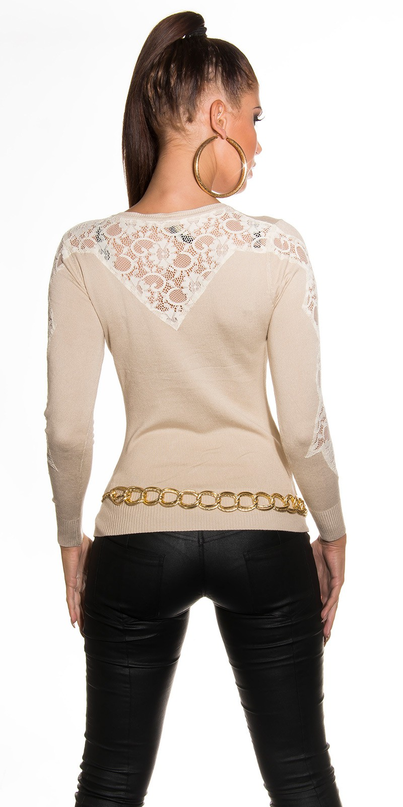 Пуловер С Ажурной Вставкой